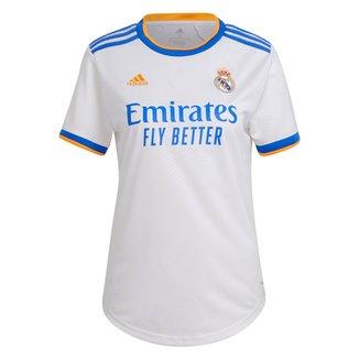 Camisa Real Madrid Home 21/22 s/n° Torcedor Adidas Feminina
