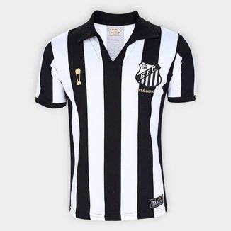 Camisa Santos 1963 Bi Mundial Listrada Retrô Mania Masculina