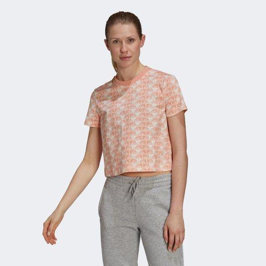 Camiseta Adidas Cropped Favourites Feminina - Off white+Coral