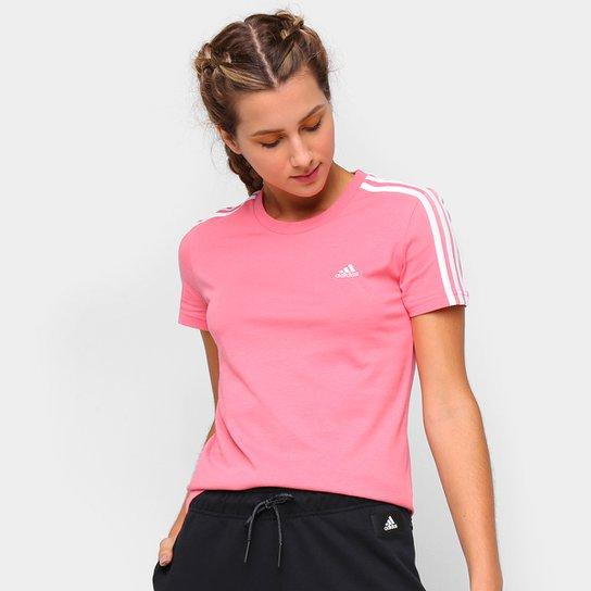 Camiseta Adidas Essentials 3 Listras Feminina - Rosa+Branco