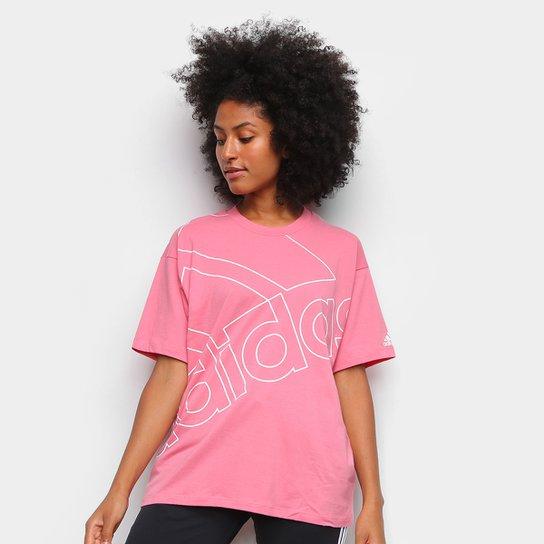 Camiseta Adidas Favourites Feminina - Rosa+Branco