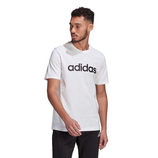 Camiseta Adidas Logo Linear Masculina - Branco+Preto