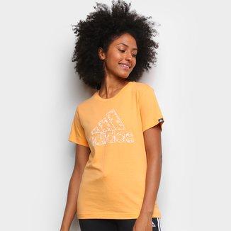 Camiseta Adidas Logo Vazado Floral Feminina