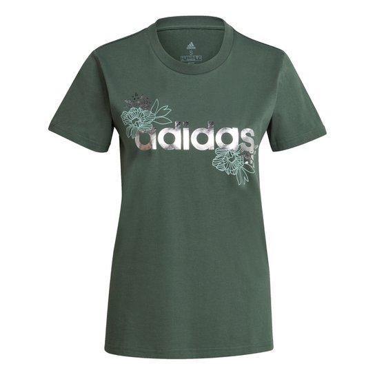 Camiseta Adidas Logo Vazado Floral Feminina - Verde