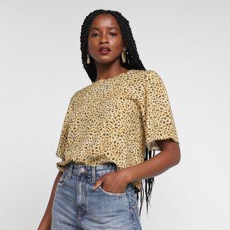 Camiseta Animale Jeans Onça Dots Feminina