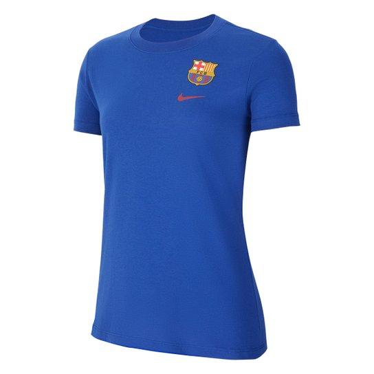 Camiseta Barcelona Nike Evergreen Crest 2 Feminina - Azul