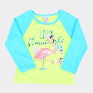 Camiseta Bebê Boca Grande Flamingo Manga Longa Proteção UV Feminina