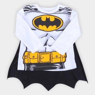 Camiseta Bebê Fakini Batman Manga Longa Com Capa