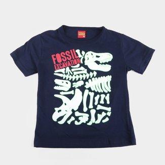 Camiseta Bebê Kyly Dinossauro Fossil Brilha no Escuro Manga Curta Masculina