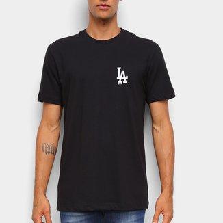 Camiseta Black Pack MLB Los Angeles Dodgers New Era Shield Masculina