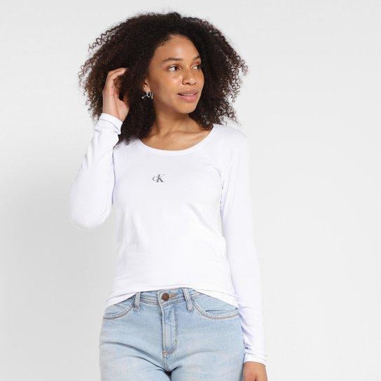 Camiseta Calvin Klein Manga Longa Logo Feminina - Branco