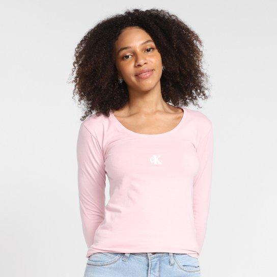 Camiseta Calvin Klein Manga Longa Logo Feminina - Rosa