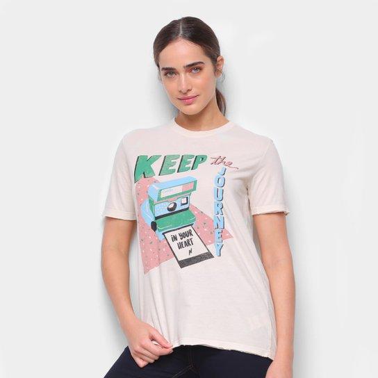 Camiseta Cantão Boyfriend Polaroid Feminina - Off White