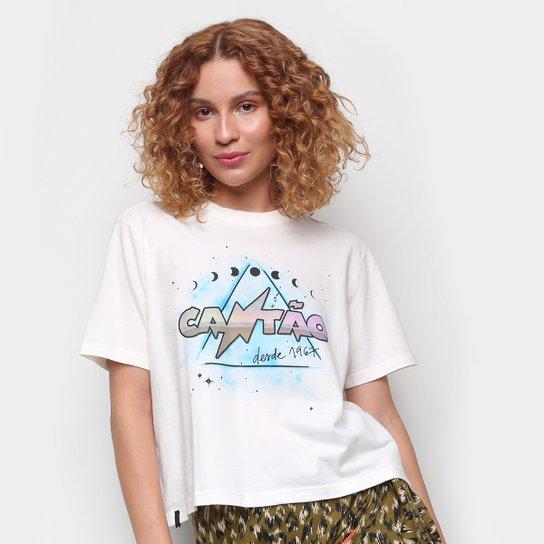 Camiseta Cantão Estampada Manga Curta Feminina - Off White