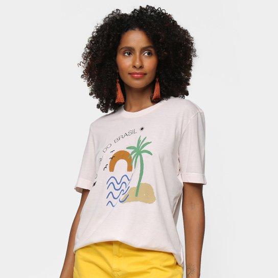 Camiseta Cantão Sol Do Brasil Manga Curta Feminina - Bege