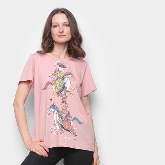 Camiseta Colcci Básica Estampada Feminina