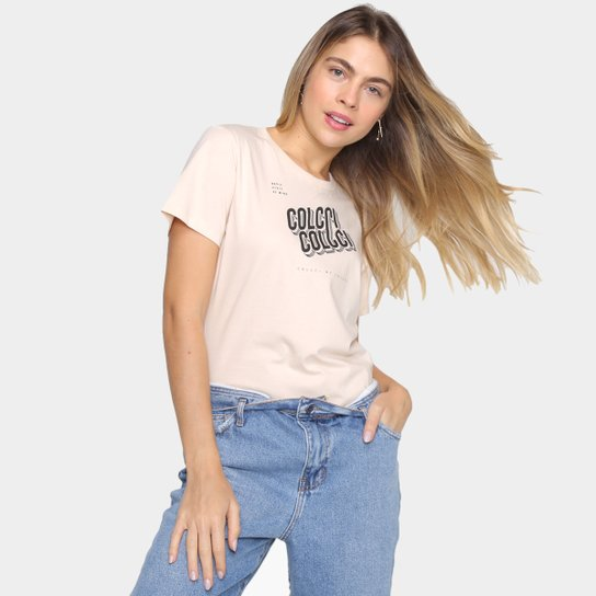 Camiseta Colcci Básica Logo Fit Feminina - Bege