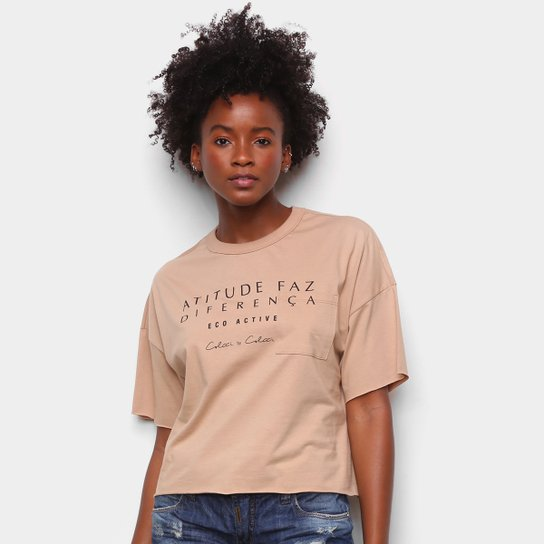 Camiseta Colcci Diferença Eco Active Feminina - Bege