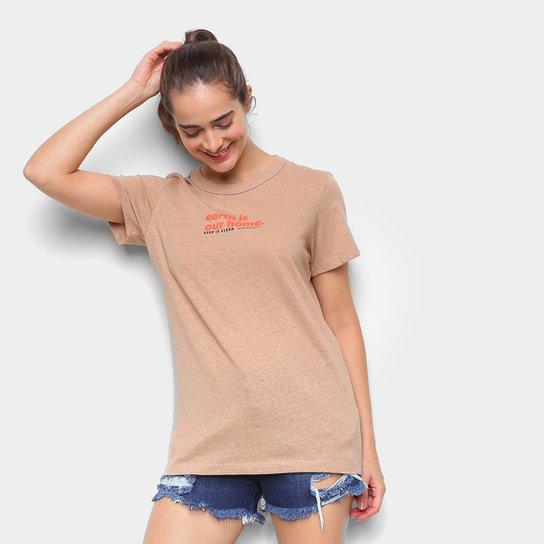 Camiseta Colcci Earth Feminina - Bege+Off White