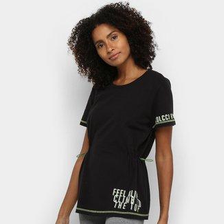 Camiseta Colcci Fitness Alongada Amarração Feminina