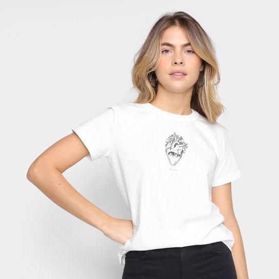 Camiseta Colcci Namorados Regular Fit Coração Feminina - Off White
