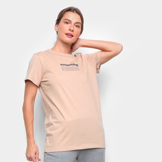 Camiseta Colcci Sustentável Feminina - Bege