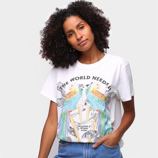 Camiseta Colcci The Word Needs Feminina - Off White