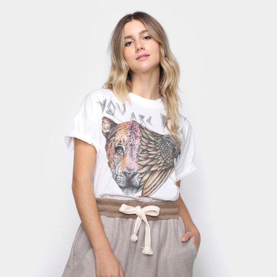 Camiseta Colcci Tigre Águia Feminina - Off White
