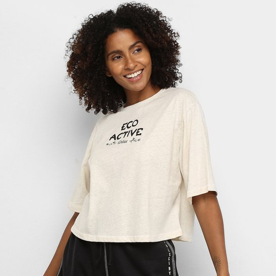 Camiseta Cropped Colcci Fitness Eco Active Feminina - Off White+Bege
