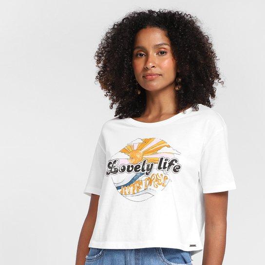 Camiseta Dzarm Nós Precisamos de Um Mundo Colorido Feminina - Bege