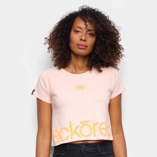 Camiseta Ecko Cropped Estampada Feminina - Bege