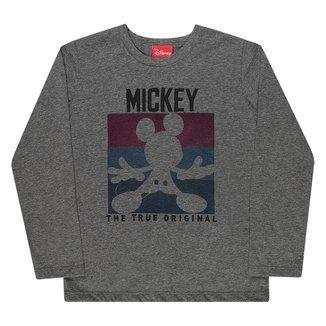 Camiseta Infantil Disney Mickey Manga Longa Masculina