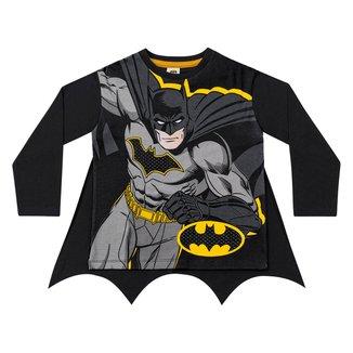 Camiseta Infantil Fakini Batman Capa Manga Longa Masculina