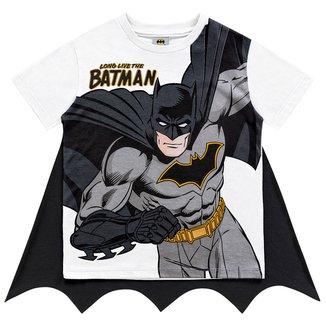 Camiseta Infantil Fakini Batman Com Capa Masculina