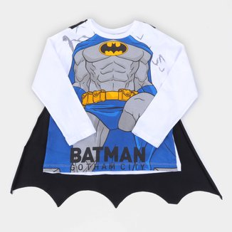 Camiseta Infantil Fakini Batman Manga Longa Com Capa