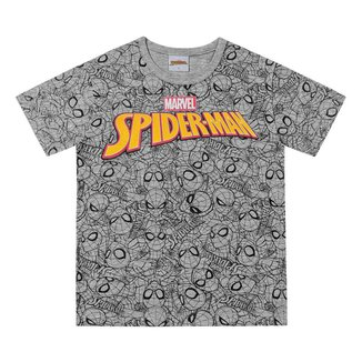 Camiseta Infantil Fakini Spider Man Manga Curta Masculina