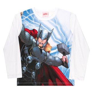 Camiseta Infantil Kamylus Marvel Thor Manga Longa Masculina