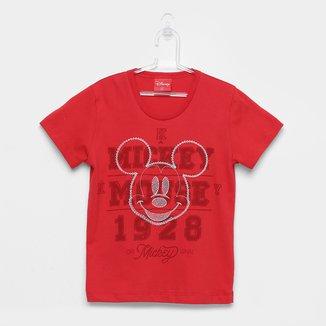 Camiseta Infantil Kamylus Meia Malha Mickey Mouse Disney Manga Curta