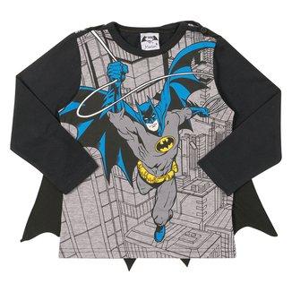 Camiseta Infantil Marlan Batman Manga Longa Com Capa Removível