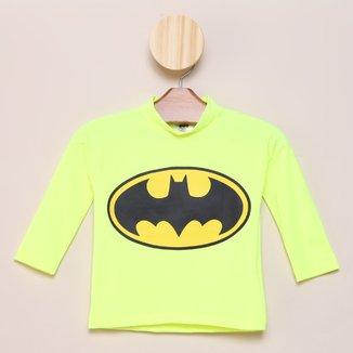 Camiseta Infantil Marlan Batman UV 50+ Manga Longa Masculina