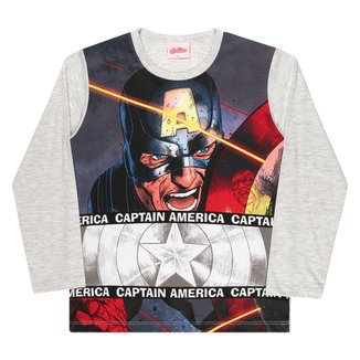 Camiseta Infantil Marvel By Kamylus Capitão América Manga Longa Masculina