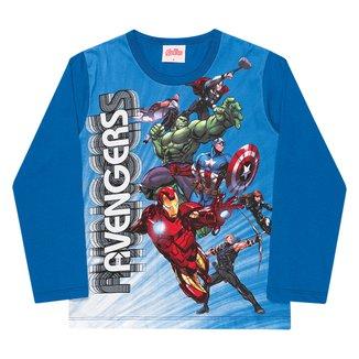 Camiseta Infantil Marvel By Kamylus Os Vingadores Manga Longa Masculina