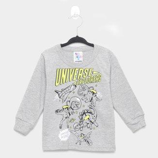Camiseta Infantil Pulla Bulla Manga Longa Dino Space Masculina