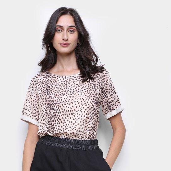 Camiseta Lança Perfume Onça Feminina - Bege+Marrom