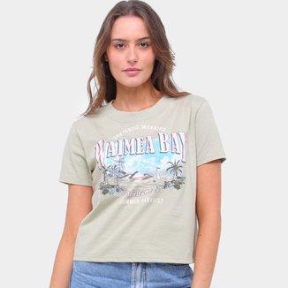 Camiseta Lecimar Bordada Waimea Bay Feminina
