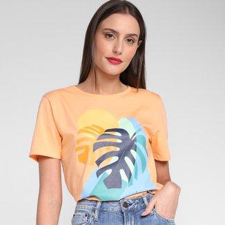 Camiseta Lunender Silk Folhas Feminina