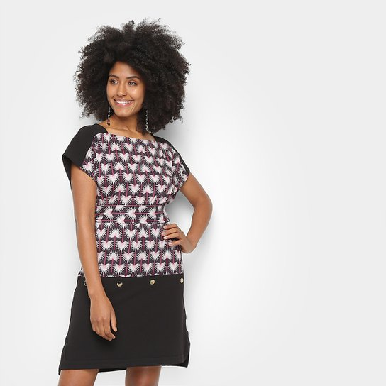 Camiseta Morena Rosa Dress Com Amarração Etampada Feminina - Preto+Bege