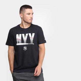 Camiseta New Era MLB New York Yankees Essentials Bat Masculina