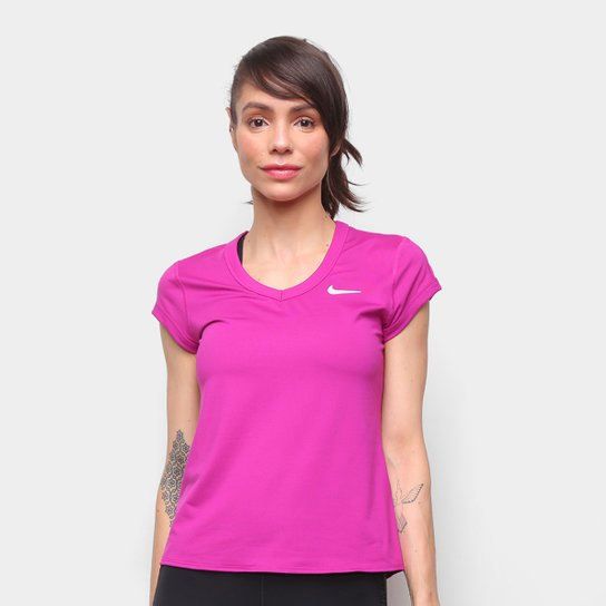 Camiseta Nike Court Dry Feminina - Roxo+Branco