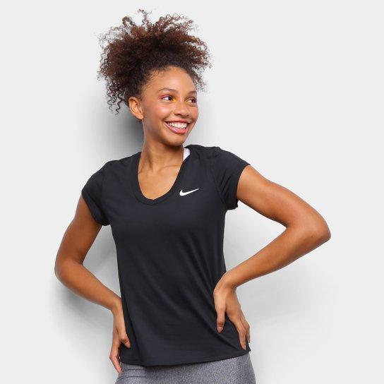 Camiseta Nike Court Dry Feminina - Preto+Branco